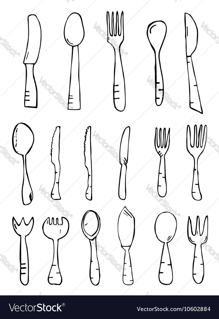 Spoon knife fork hand drawn vector