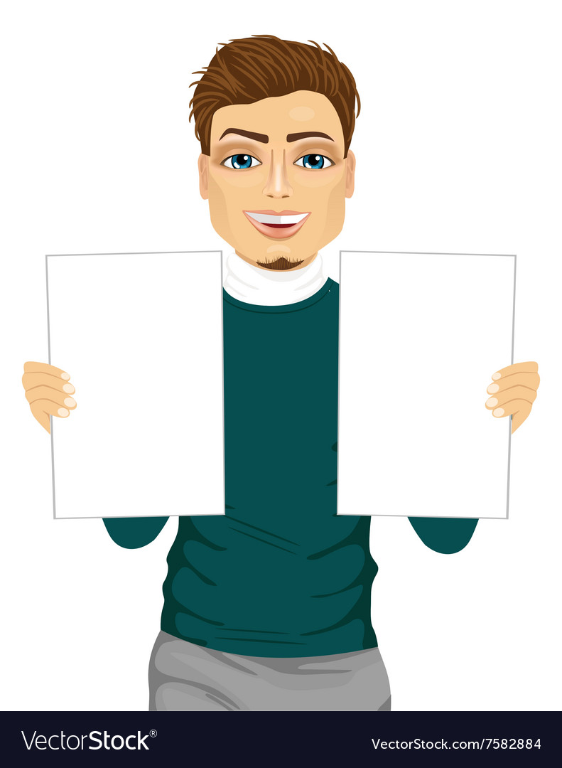 Young man holding two blank papers vector