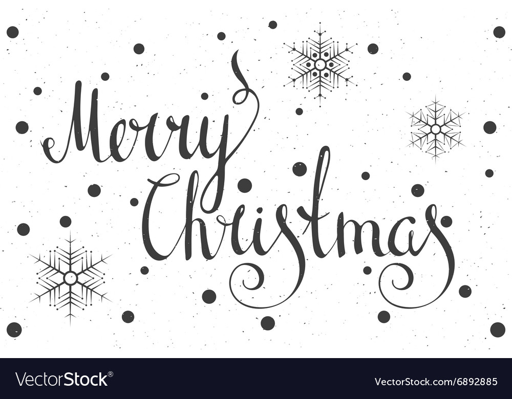 Calligraphic inscription merry christmas vector