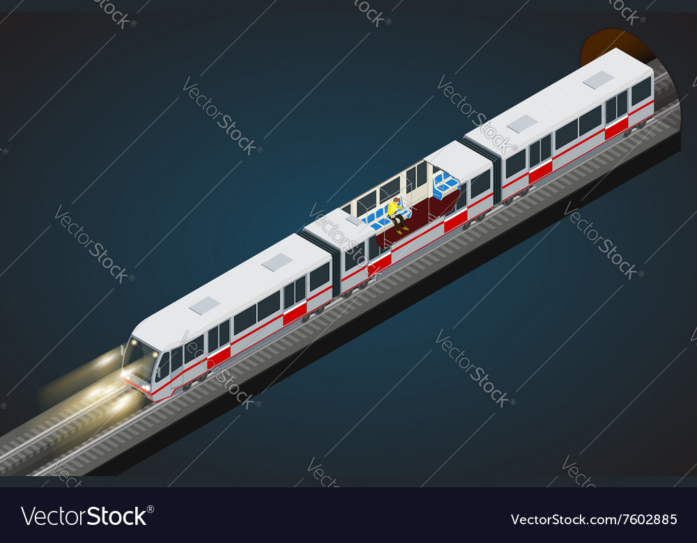 Flat 3d isometric of a subway vector
