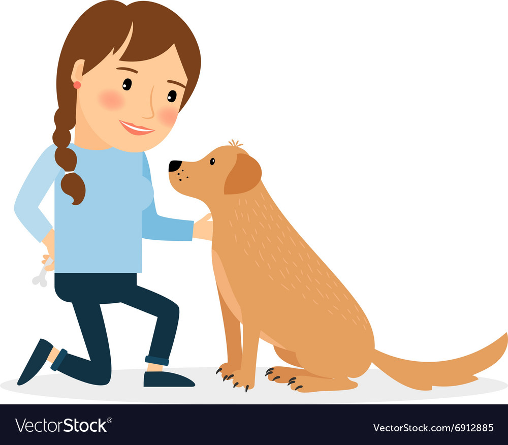 Happy woman with dog vector
