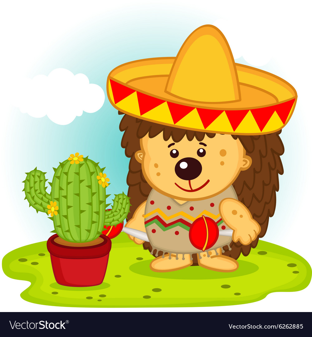 Hedgehog and cactus on mexican fiesta vector