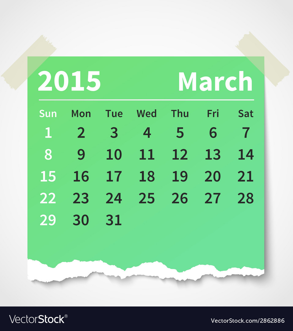 Calendar march 2015 colorful torn paper vector