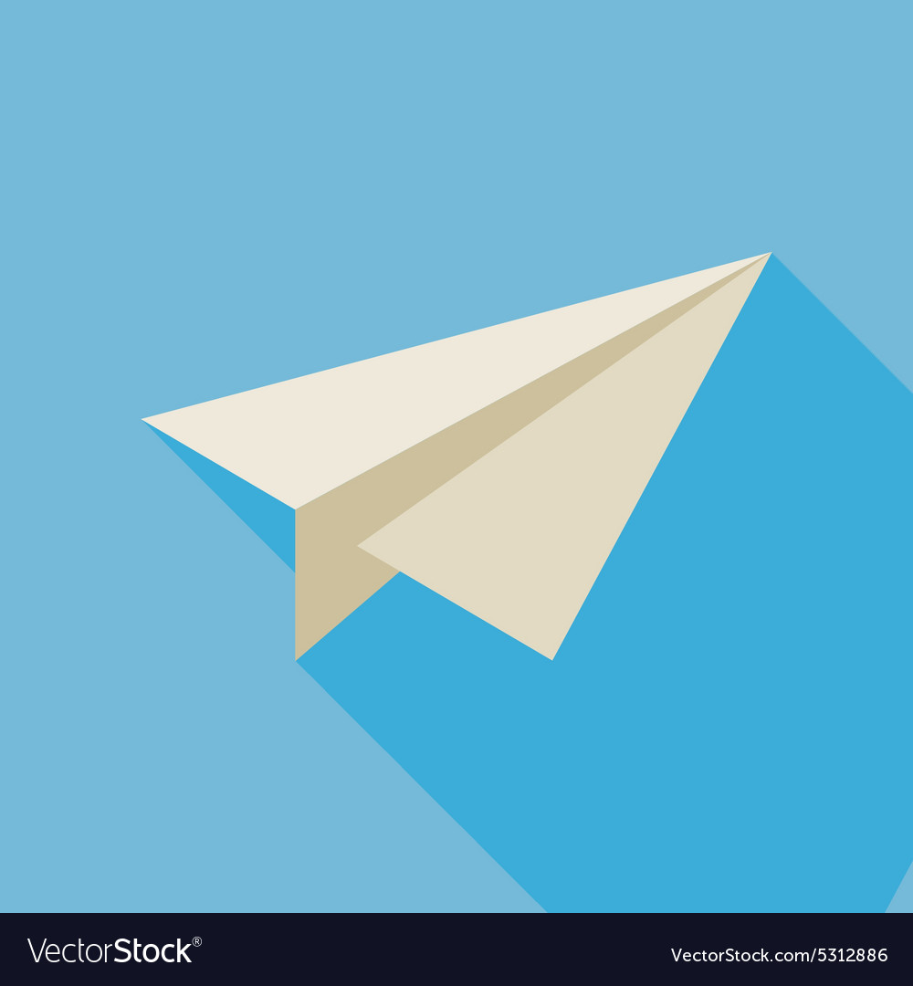 Flat freelance paper plane with long shadow vector