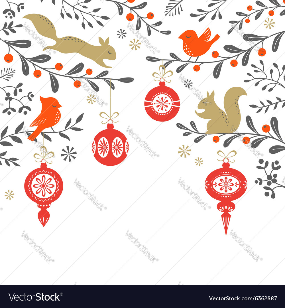 Christmas woodland background vector