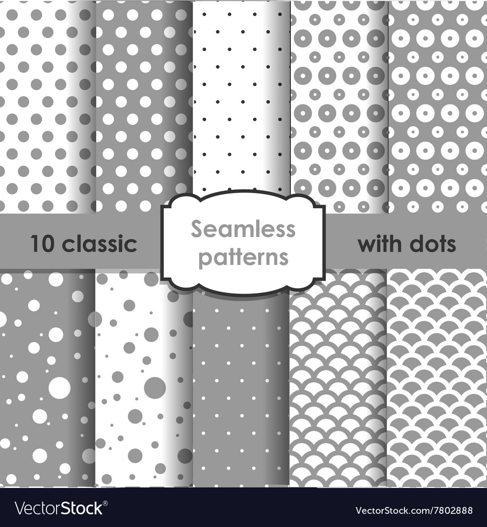 Set of classic grey seamless patterns with dots vector