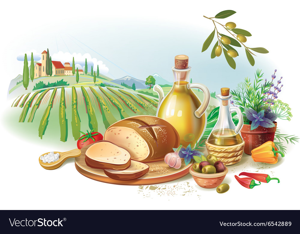 Country still life against landscape vector