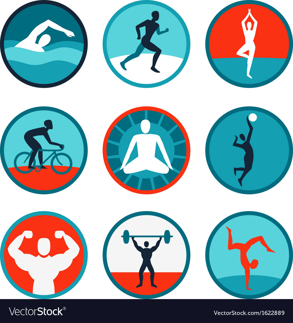 Fitness icons and signs vector