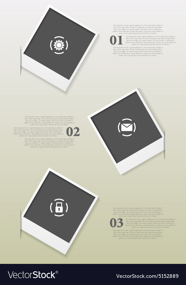 Infographics design with polaroid frames vector