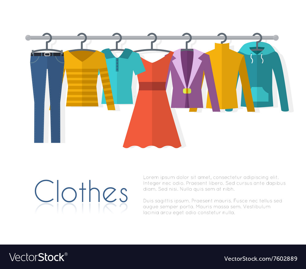 Racks with clothes on hangers vector