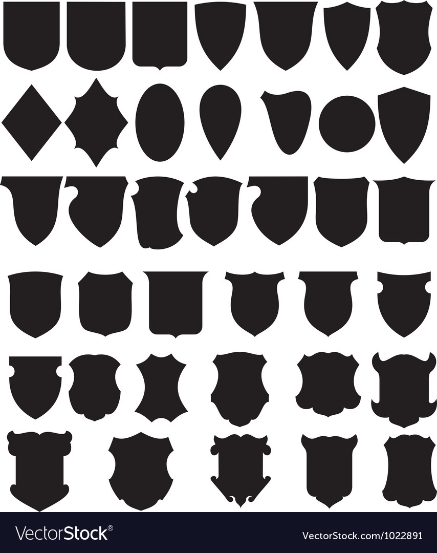Black shields set vector