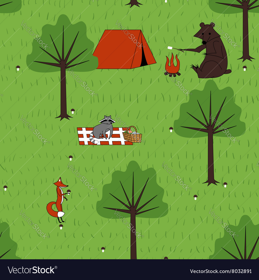 Seamless pattern camping animals vector