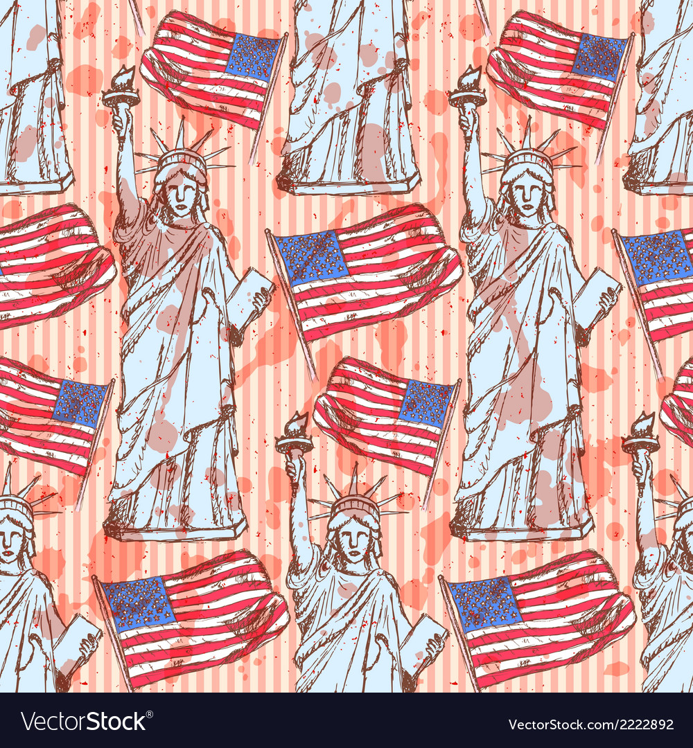 Sketch statue of liberty and flag vintage seamless vector