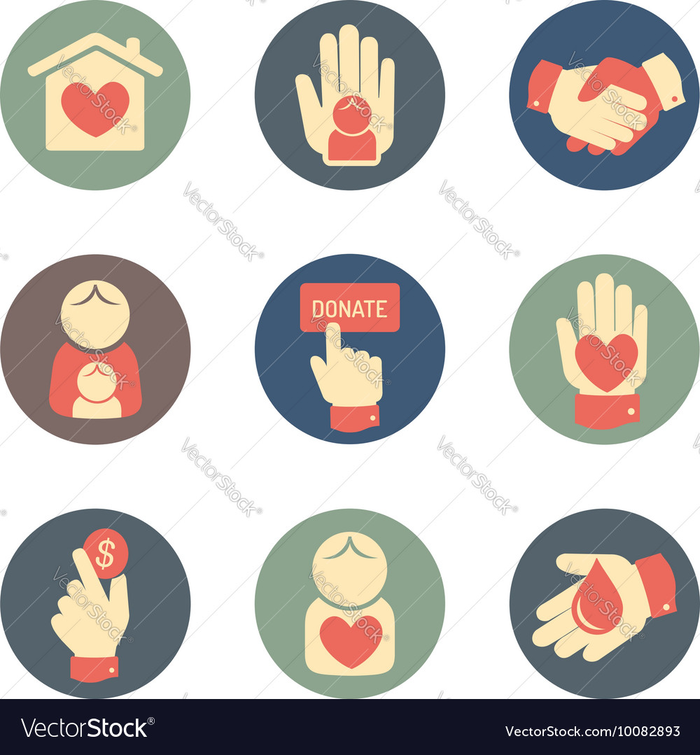 Charity and donation icons flat style set vector