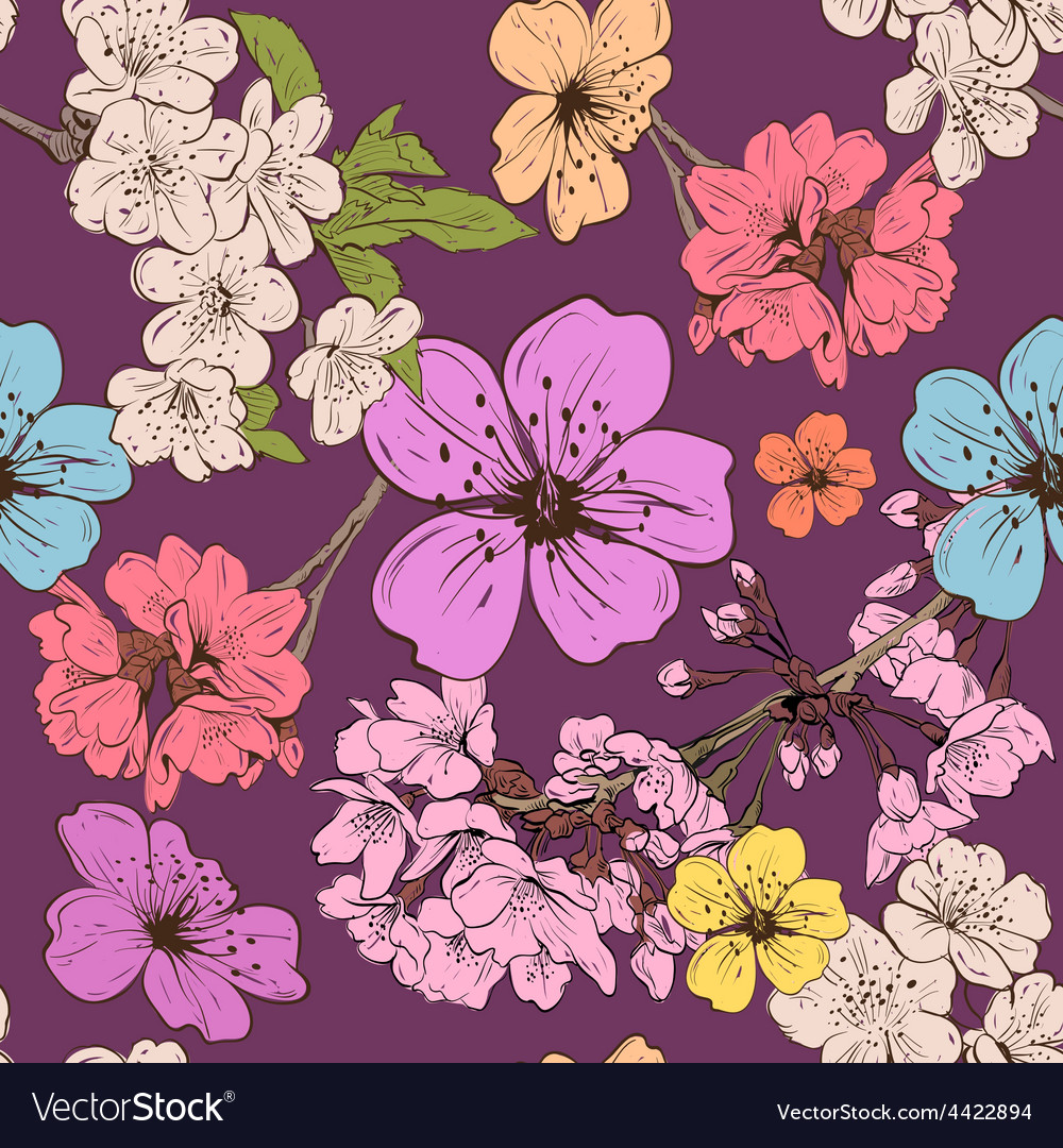 Apple flowers pattern backgrounds vector