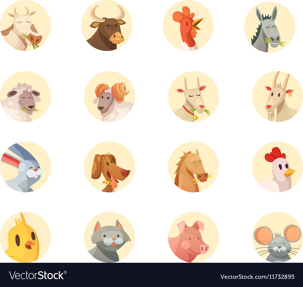 Farm animals heads round icons collection vector