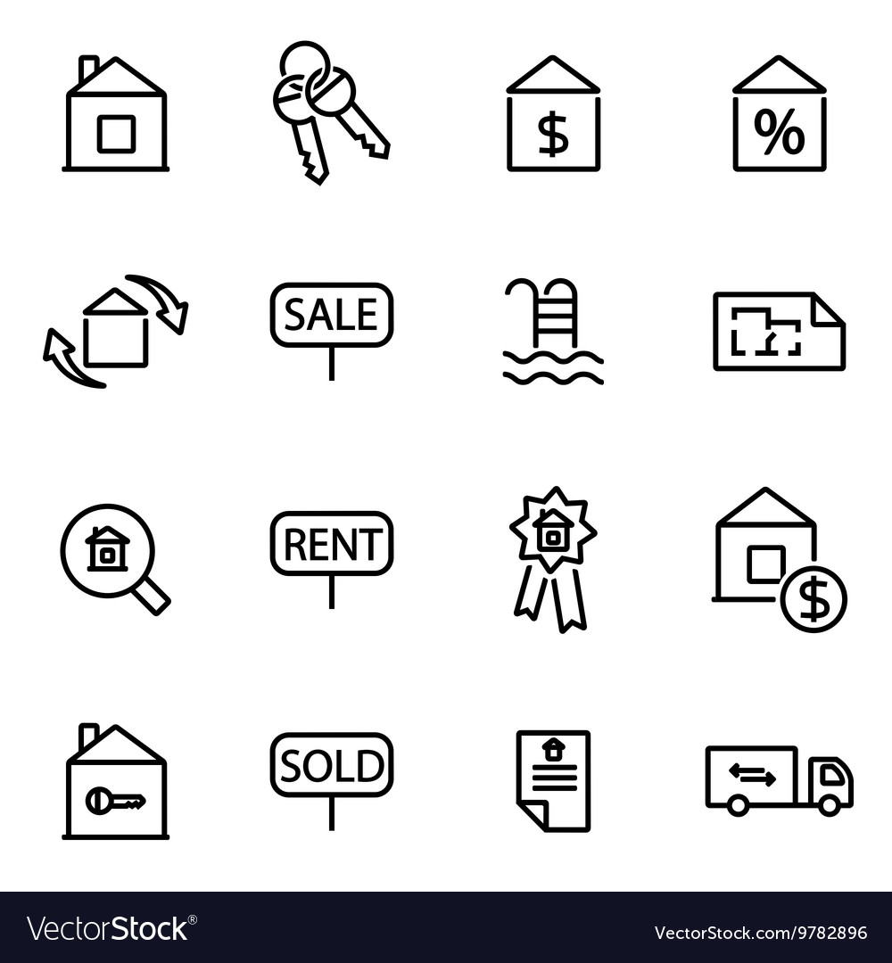 Thin line icons  real vector