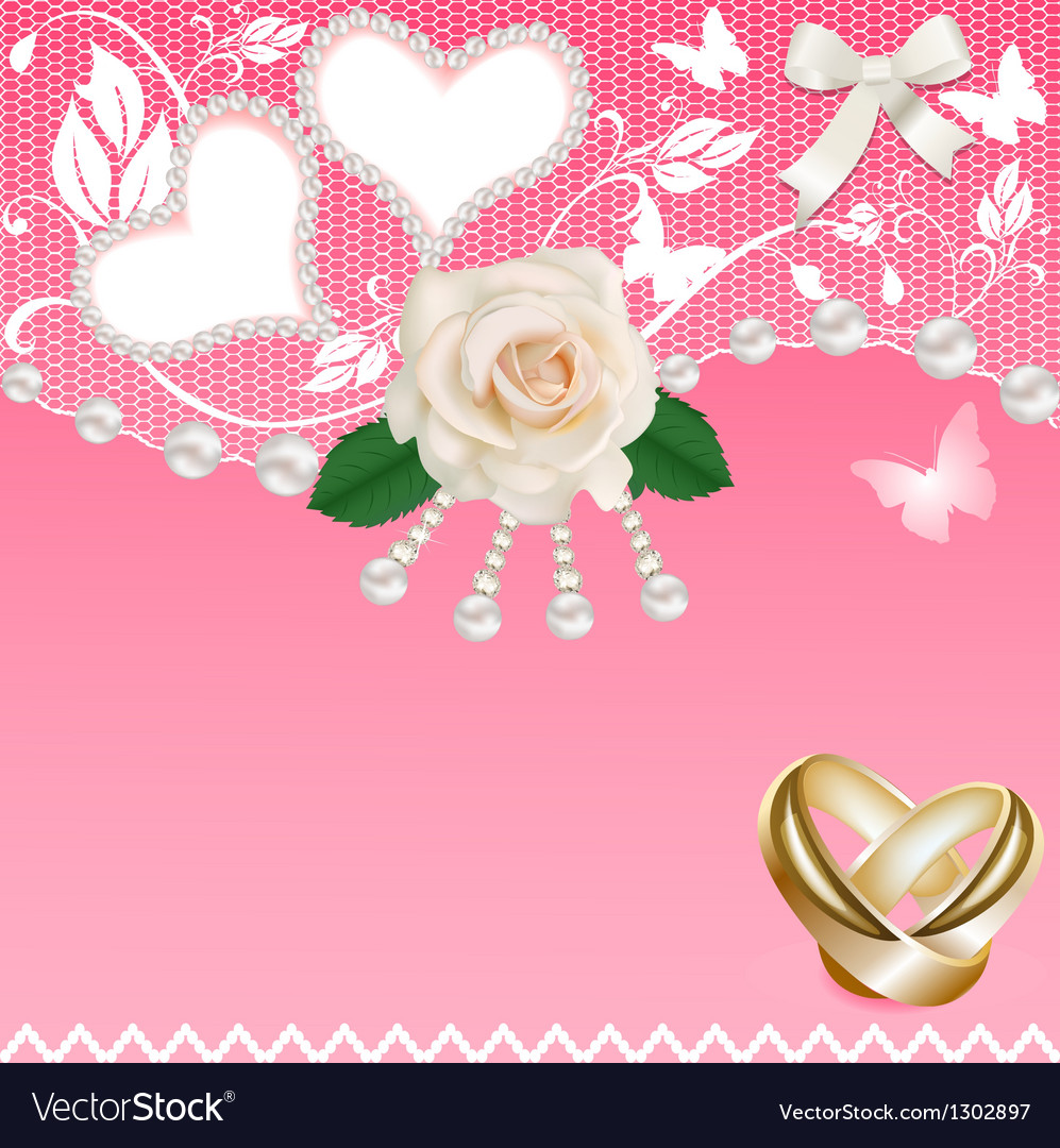 Background with heart rose wedding rings and pearl vector