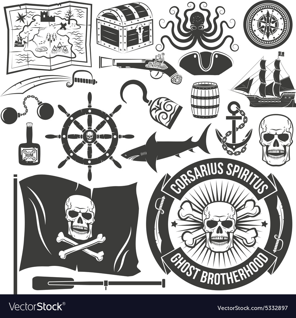 Piratestyle tattoo vector