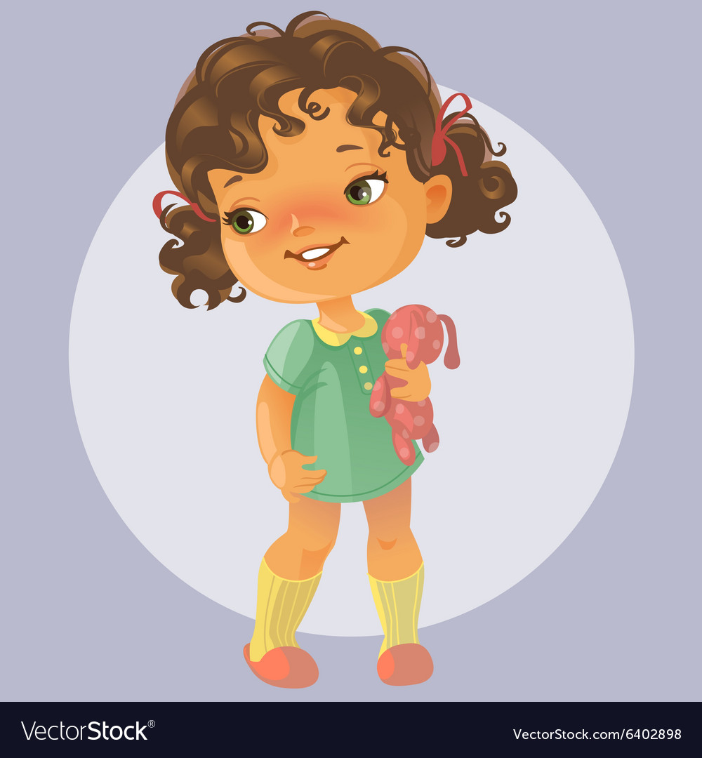 Cute little girl with toy vector