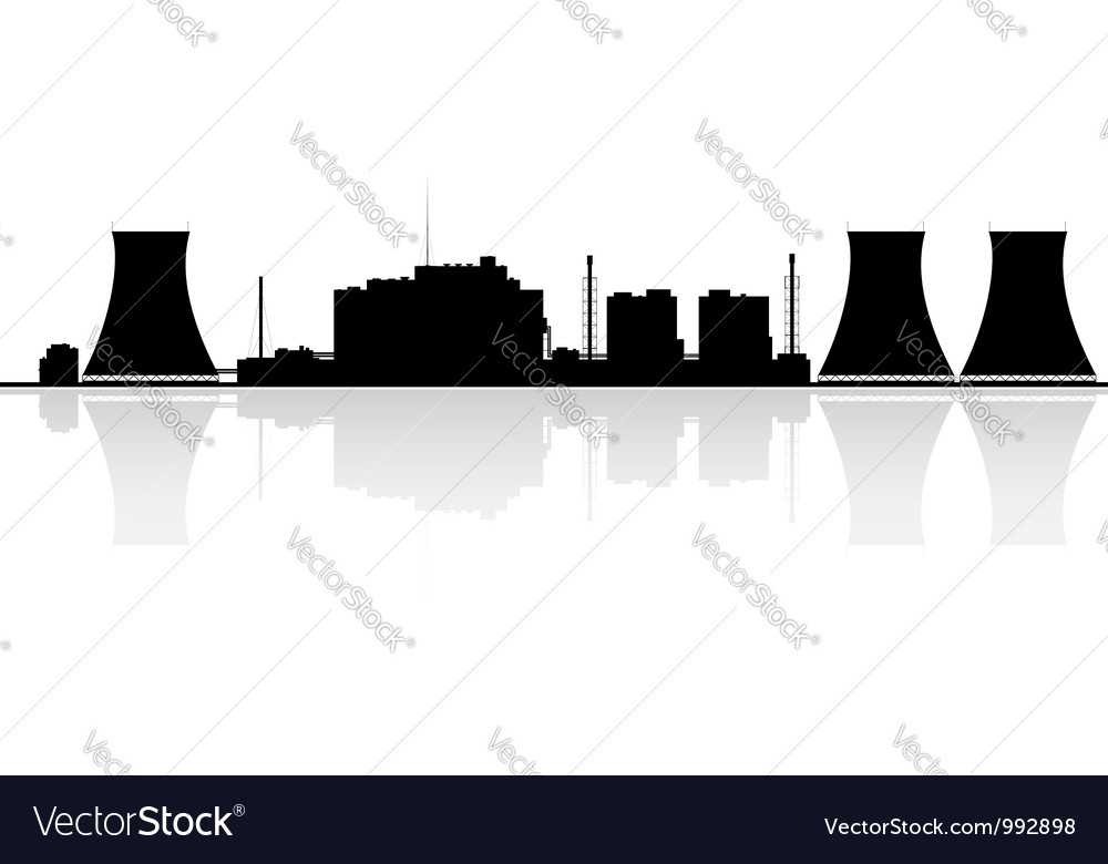 Nuclear power plant silhouette vector