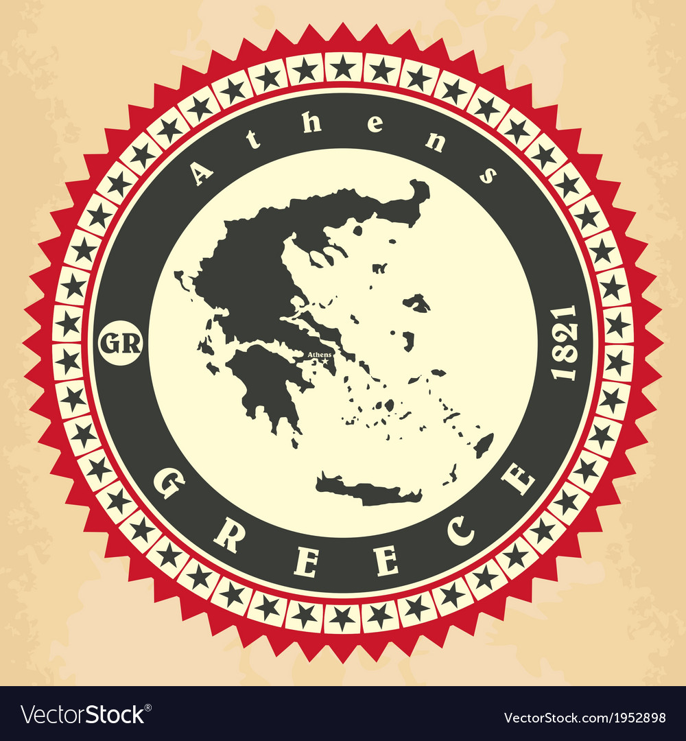 Vintage labelsticker cards of greece vector