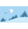 Train santa on the sky at niht landscape vector image