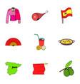 barcelona icons set cartoon style vector image
