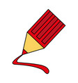colorful image cartoon color pencil with line vector image