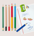 Sharpener and wood debris from the pencils vector image