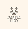 Thin Line Design Template Logotype Panda Bear vector image