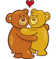 cartoon illustration of two teddy bears in love vector image