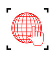 earth globe with cursor red icon inside vector image