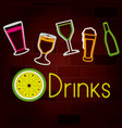 glass drinks set on neon sign on brick wall vector image