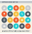 Office 3 icon set Multicolored square flat vector image
