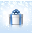 White gift box with a blue bow vector image