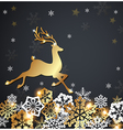 Christmas luxurious background with golden deer vector image