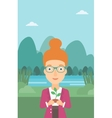 Woman holding plant vector image