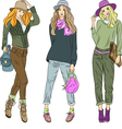 Beautiful fashion girls top models in hats vector image