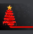 christmas tree made of red ribbon on dark vector image