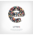 group people shape letter E vector image