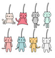hand drawn set of cute cat keychain vector image