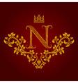 Patterned golden letter N monogram in vintage vector image