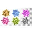realistic bow set beautiful bright ribbon vector image