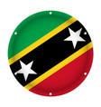 round metallic flag - saint kitts and nevis vector image