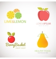 Set of logos for fruit organic company fresh vector image