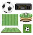soccer football field ball and scoreboard vector image