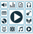 audio icons set collection of music earmuff vector image