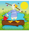 goose goes fishing vector image vector image