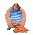 cartoon fat burly builder in a helmet with bricks vector image